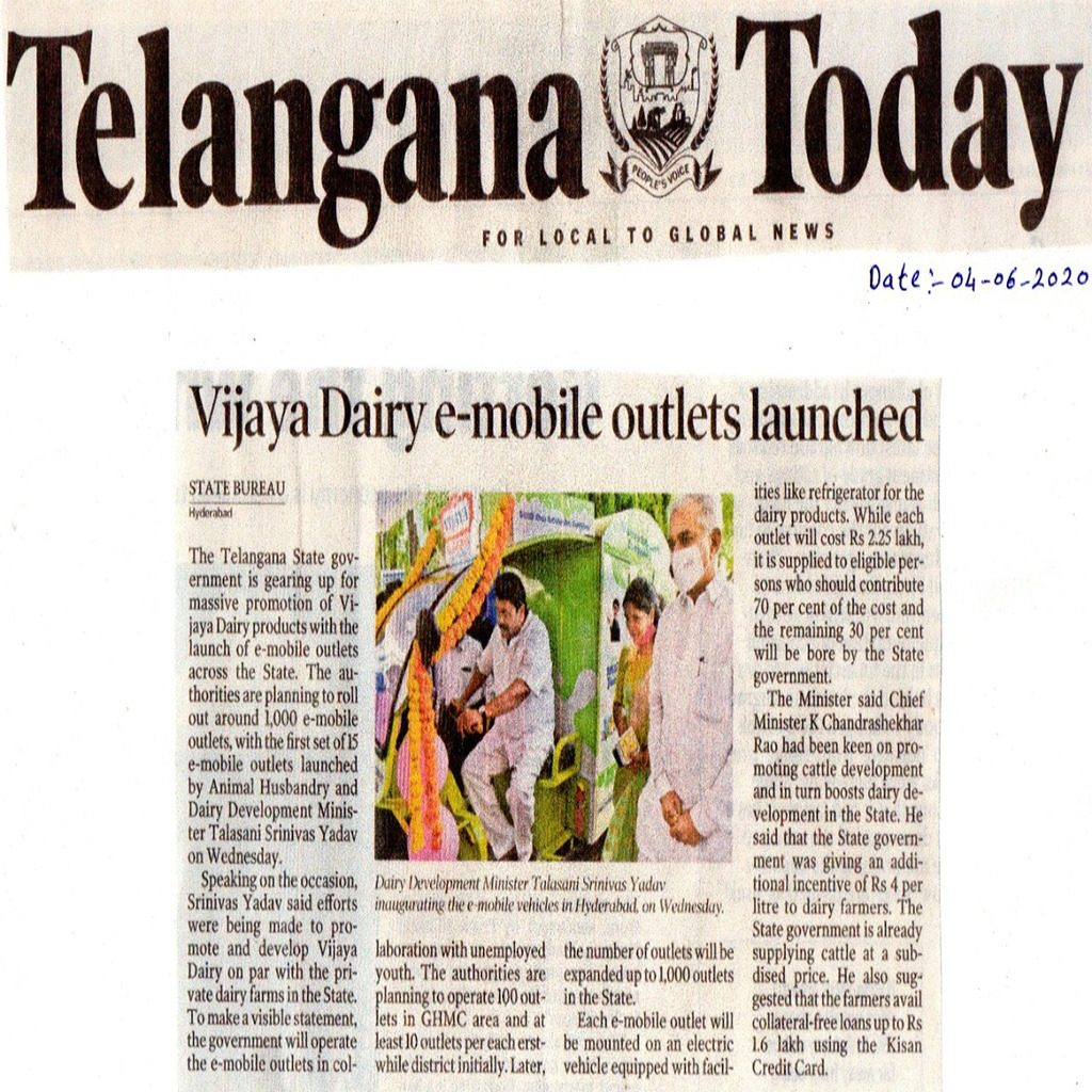 Vijaya Dairy Electric vehicle news